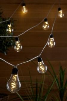 Set of 10 Solar Rope Festoon Line Lights