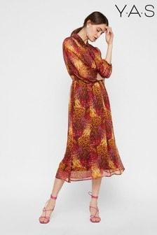Y.A.S Floral Print Sheer Midi Dress