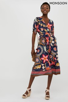 Monsoon Ladies Blue Rhonda Ecovero Print Midi Dress