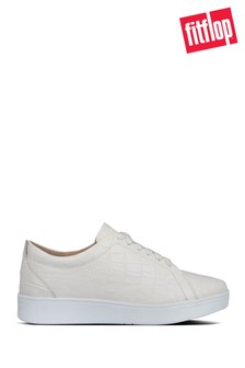 FitFlop™ White Rally Croc Print Sneakers