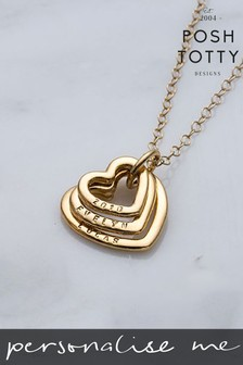 Personalised Family Names Heart 18ct Yellow Gold Plate Necklace by Posh Totty Designs
