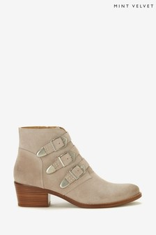 Mint Velvet Cream Lee Neutral Buckle Boots