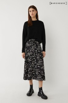 Warehouse Daisy Print Belted Midi Skirt