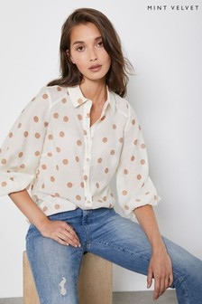 Mint Velvet Cream Spot Print Puff Sleeve Shirt