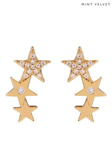 Mint Velvet Gold Tone Star Climber Earrings