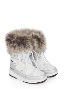 Moonboots Girls White Faux Fur Snow Boots