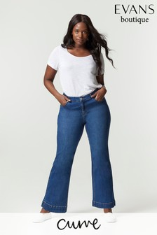 Evans Curve Regular Mid Wash Wide Leg Jeans