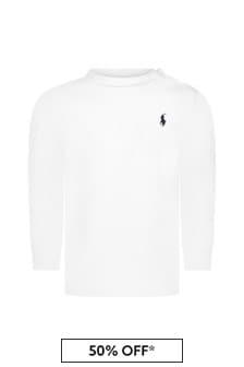 Baby Boys White Jersey Long Sleeve T-Shirt