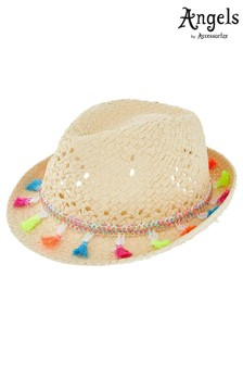 Angels By Accessorize Natural Tassel Trilby Hat