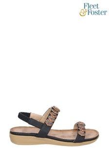 Fleet & Foster Black Java Elasticated Sandals