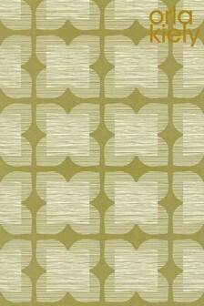 Orla Kiely Green Flower Tile Wallpaper