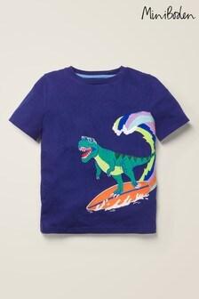 Mini Boden Blue Dinosaur Appliqué T-Shirt