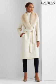 Lauren Ralph Lauren® Faux Fur Trim Wool Wrap Coat