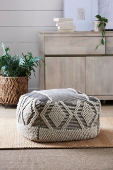 Grey/Natural Bobble Large Pouffe
