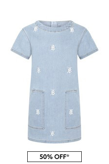 Burberry Kids Girls Blue Cotton Dress