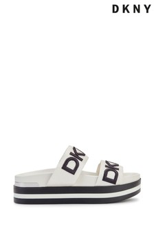 DKNY White Double Logo Band Sandals