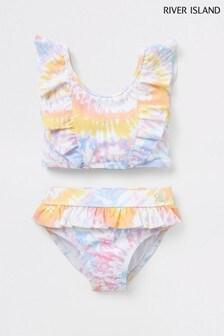 River Island Purple Light Tie Dye Frill Bikini
