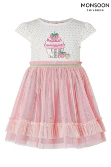 Monsoon Pink Baby Nessie Strawberry Disco Dress