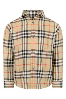 Boys Beige Vintage Check Cotton Shirt