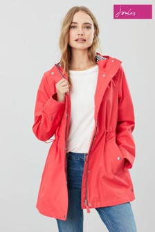 Joules Red Shoreside Waterproof A-Line Coat