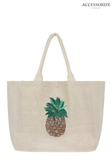 Accessorize Natural Pineapple Embellished Motif Tote