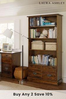 Garrat Dark Chestnut 4 Drawer Single Bookcase by Laura Ashley