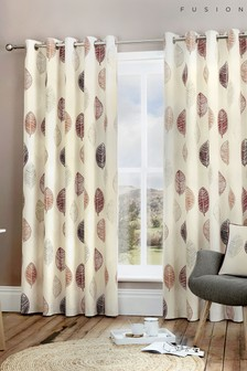 Skandi Leaf Eyelet Curtains