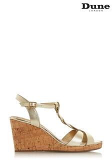 Dune London Koala Gold Plain Leather Plait T-Bar Strap Cork Wedge Heeled Sandals