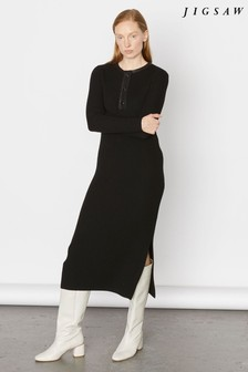 Jigsaw Black Leather Trim Rib Dress