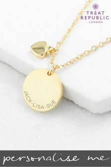 Personalised Heart And Disc Family Necklace by Treat Republic