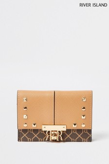 River Island Beige Dark Mini Stud Foldover Bag