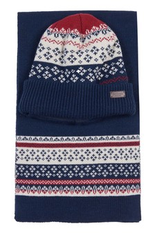 Barbour® Fairisle Pattern Beanie And Scarf Gift Set