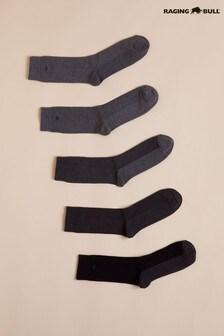 Raging Bull Grey Mens Socks Five Pack