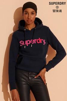 Superdry Core Logo Flock Hoodie