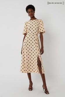 Warehouse Natural Spot Puff Sleeve Midi Dress