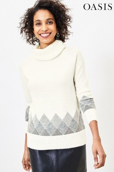 Oasis Natural Argyle Pattern Border Roll Neck Jumper