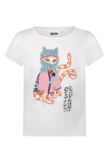 Girls Ivory Organic Cotton Ninja Kitty T-Shirt