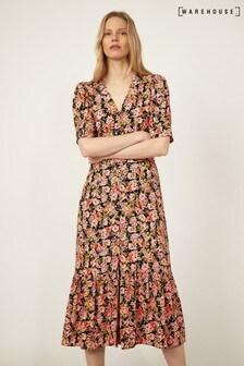 Warehouse Black Belted Waist Floral Midi Dress
