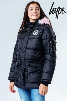 Hype. Black With Pink Faux Fur Explorer Parker Coat