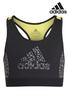 adidas Black Leopard Print Bra