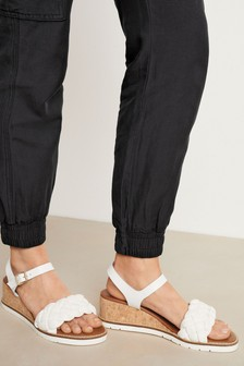 Plaited Low Wedge Sandals