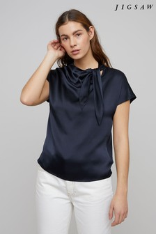 Jigsaw Blue Tie Neck Jersey Silk Front T-Shirt