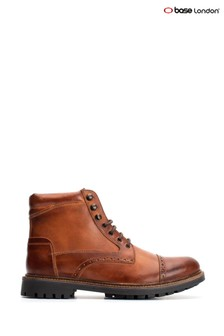 Base London® Tan Quail Burnished Lace-Up Brogue Boots