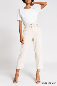 River Island Ecru Tapered Cord Barbara Jeans