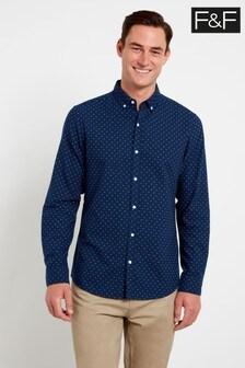 F&F Navy Geo Oxford Shirt