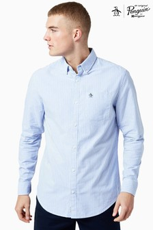 Original Penguin® Blue Cotton Oxford Striped Long Sleeve Shirt