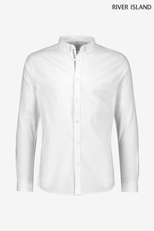 River Island White Muscle Fit Oxford Shirt