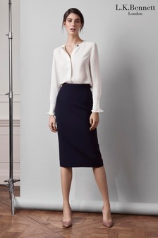 L.K. Bennett Blue Judi Pencil Skirt