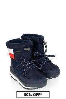 Tommy Hilfiger Boys Navy Logo Flag Snow Boots
