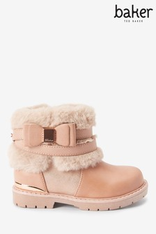 Baker By Ted Baker Pink Bow Faux Fur Collar Ankle Boots